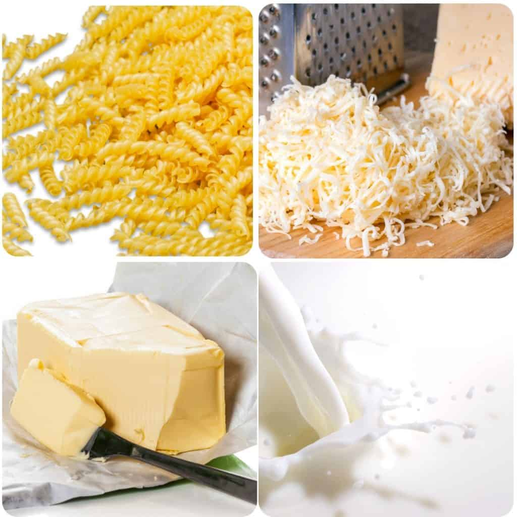 Pasta, shredded cheese, butter and milk