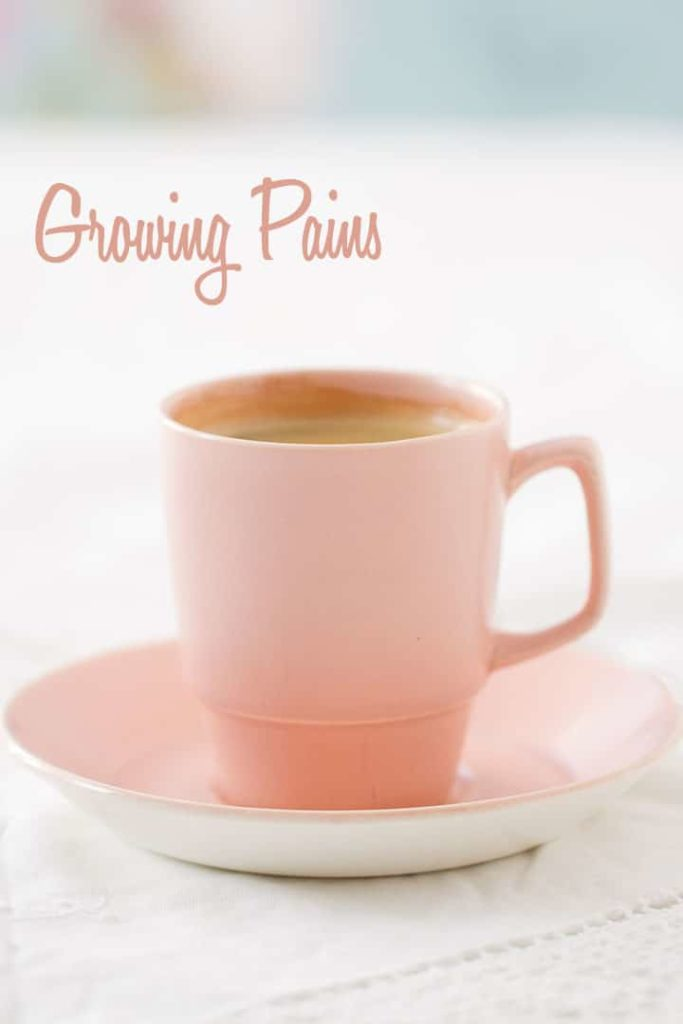 Espresso coffee in pink retro cup and saucer.