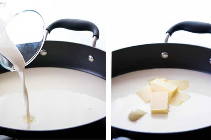 Two photos of making Alfredo sauce. one poring the cream and one with the butter too