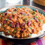 Classic Chili Con Carne served on a bed of white rice
