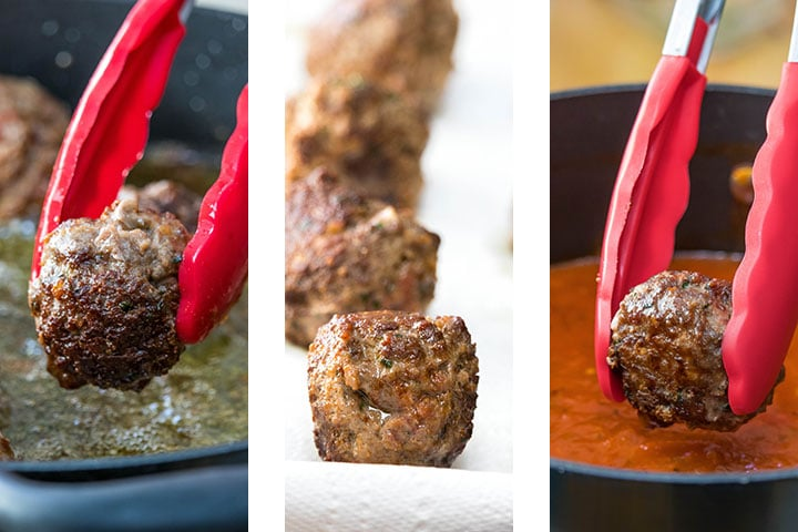 a photo showing the meatballs transferring from the pan to paper towels and to the sauce