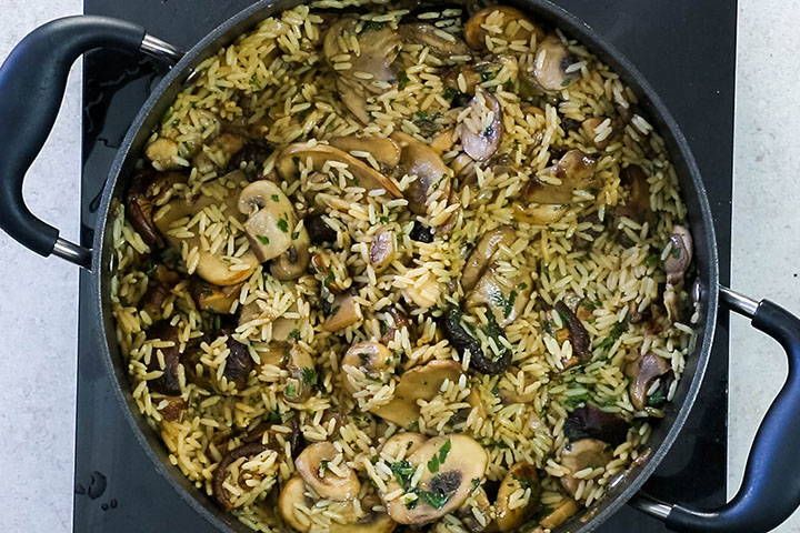 The cooked Easy Mushroom Rice Pilaf in the pan ready to serve