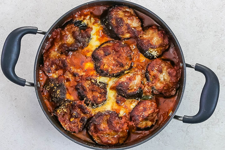 Baked Eggplant Parmesan in the pan fresh out of the oven