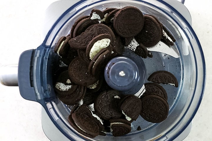 Oreo cookies in a food processor bowl