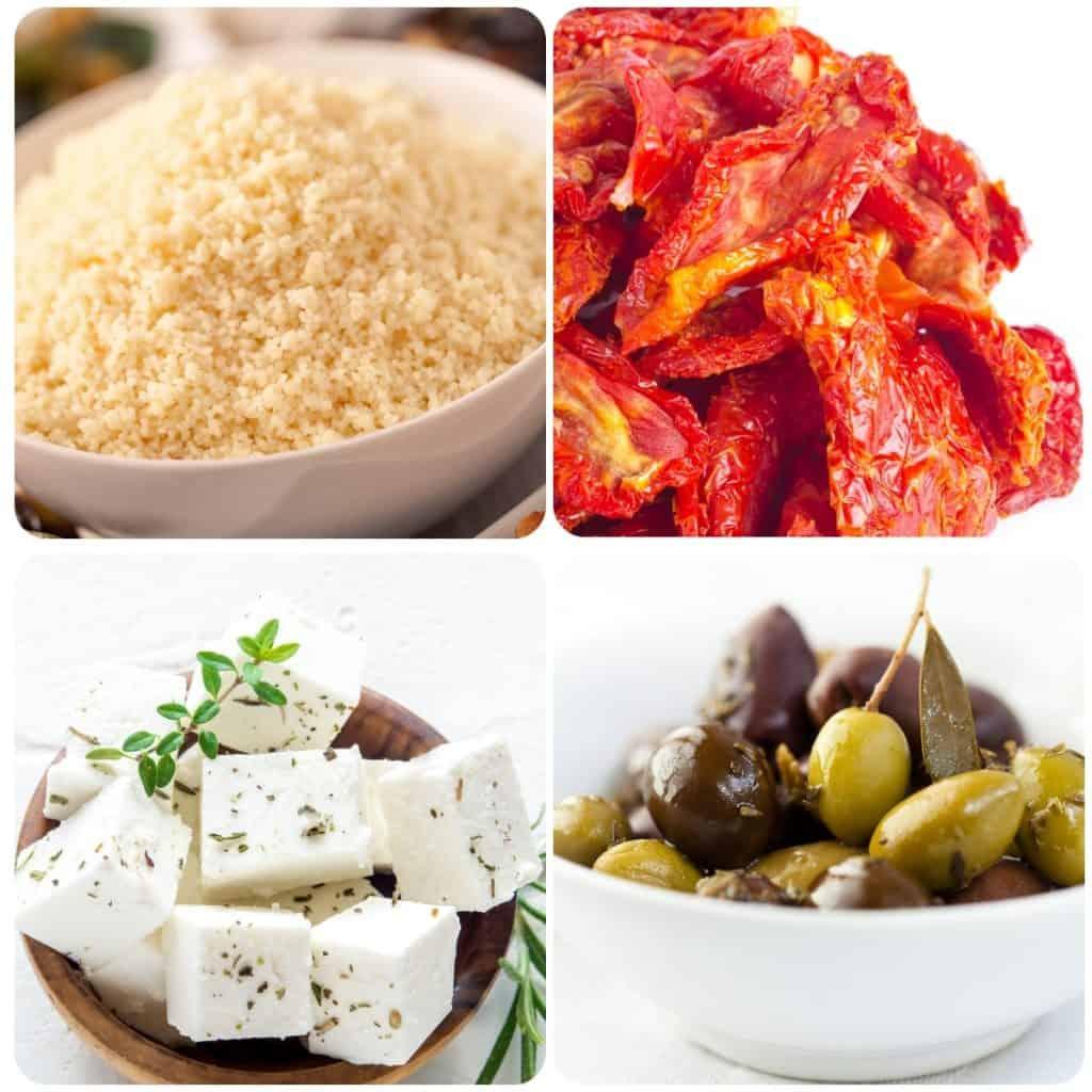 four ingredients for couscous salad