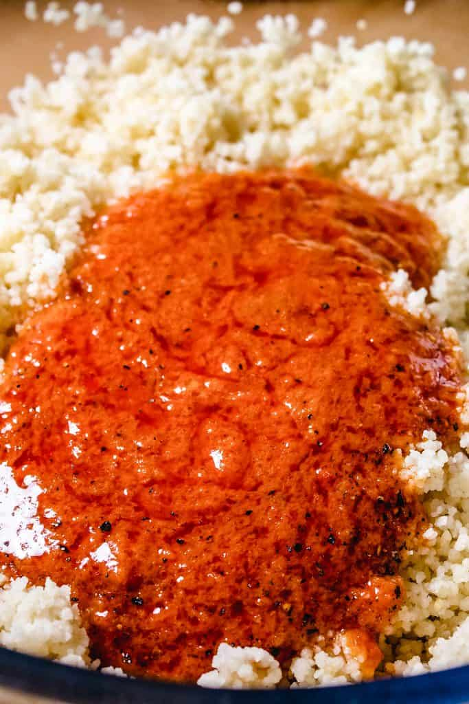 sundried tomato mixture added to couscous