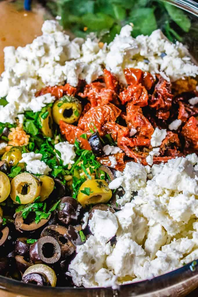 feta cheese and olives with vegetables