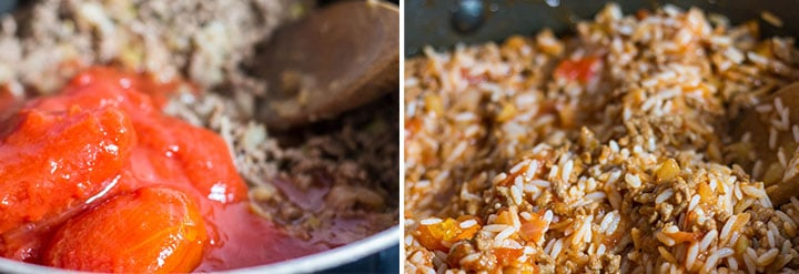 Two photos of the stuffing mixture cooking. One with the tomatoes added and one with the rice mixed in