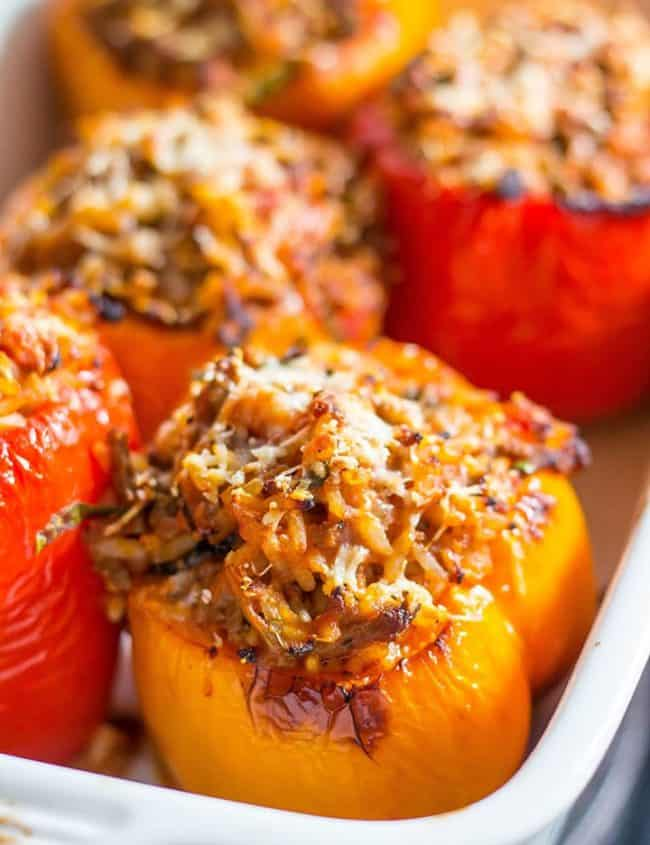 A close up of Stuffed Peppers in a pan