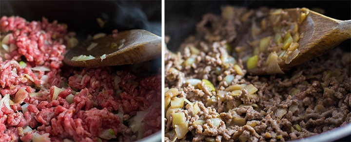 ywp photos of beef cooking with the onion mixeture. One with pink meat and one with cooked.