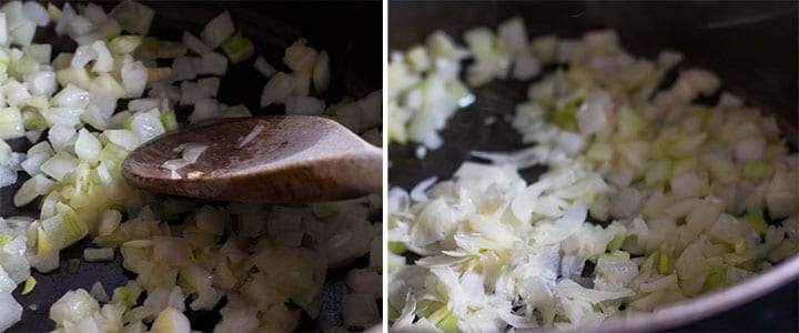 two pictures of onions cooking in a pan and garlic cooking with the onions
