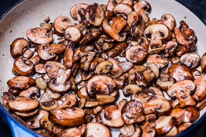 sautéed mushrooms in a pan