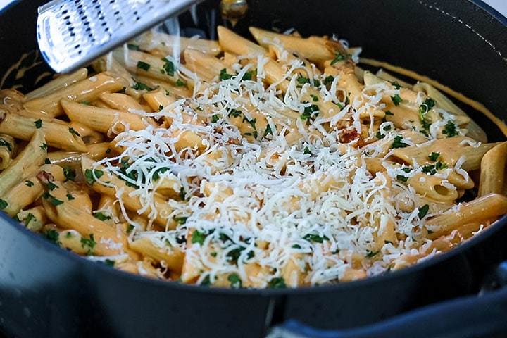 Penne Alla Vodka in the pan reasy to serve