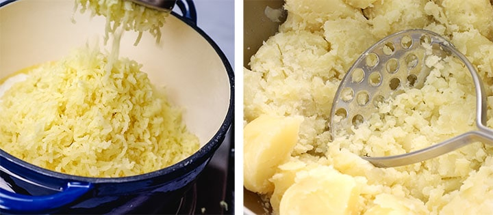 two photos of potatoes being mashed with a masher and with a ricer.