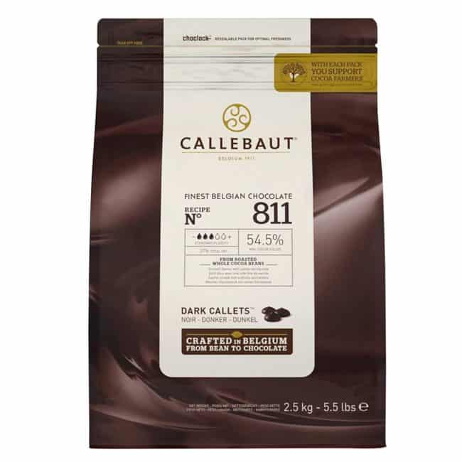 a bag of Callebaut No 811 Finest Belgian Dark Chocolate