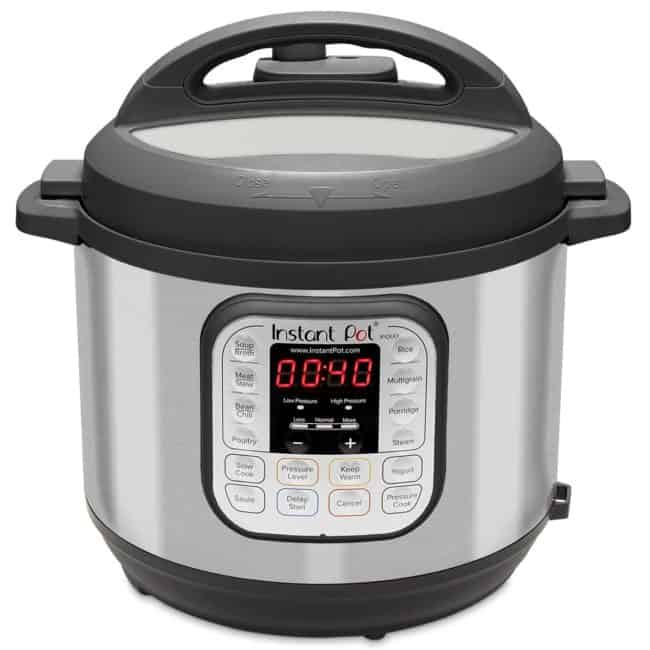 a Instant Pot 7-in-1 Electric Pressure Cooker with a wgite background