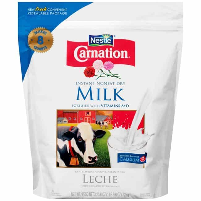 a big bag of Nonfat Dry Milk with a white background