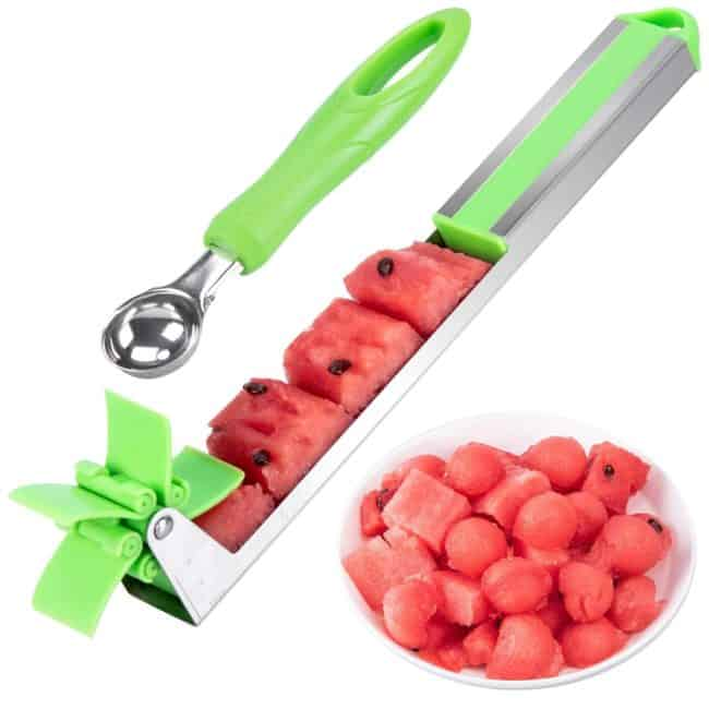 a Watermelon Cutter and baller with a white background