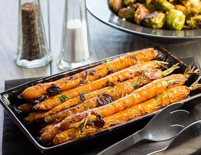 Garlic Roasted Carrots on a serving dish