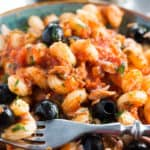 Pasta With Tuna and Olives served and ready to eat