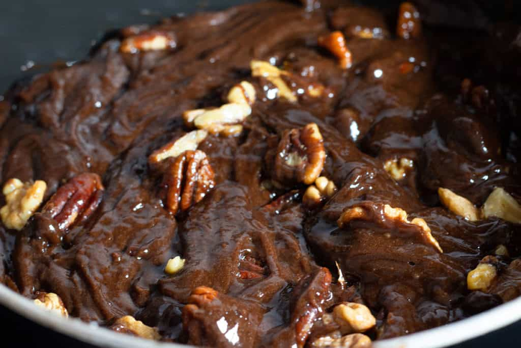 the nuts added to the pan with the brownie batter