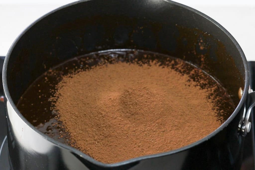 cocoa powder added to the chocolate  mixture