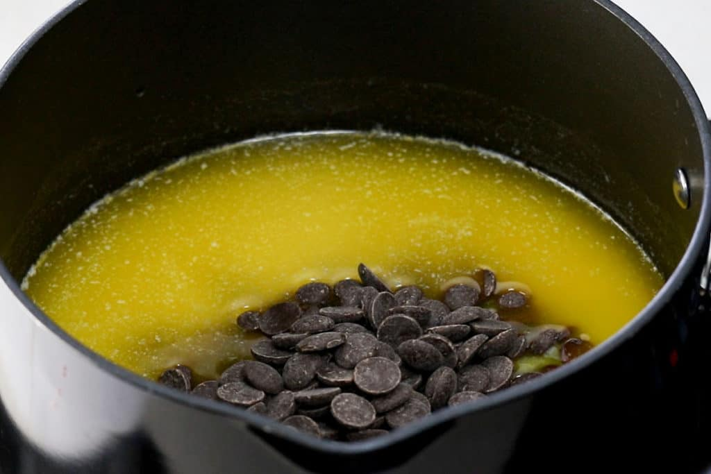 Chocolate in a pan with melted butter