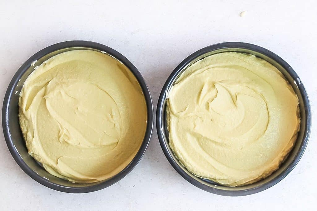 The Lemon Sponge Cake batter added to the pans ready to bake.