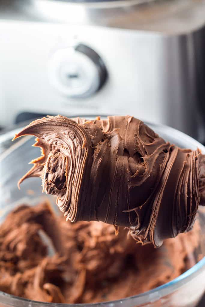 the Chocolate Ganache Frosting whipped to stiff peaks