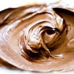 Chocolate Frosting swirled in a bowl ready to serve