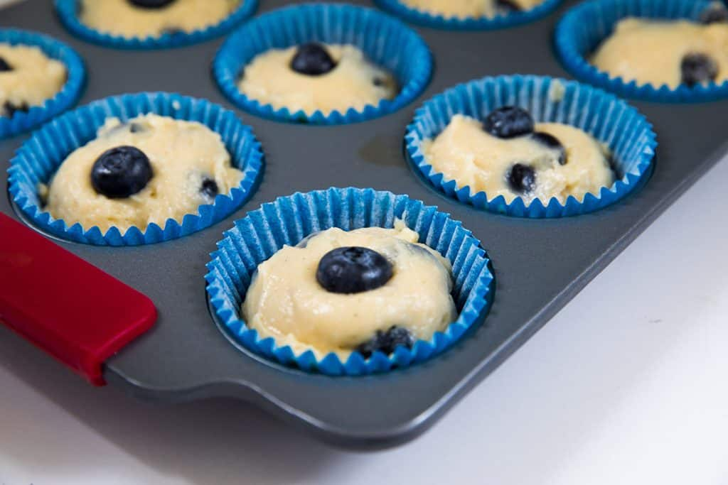 the blueberry muffin better added to the muffin pan