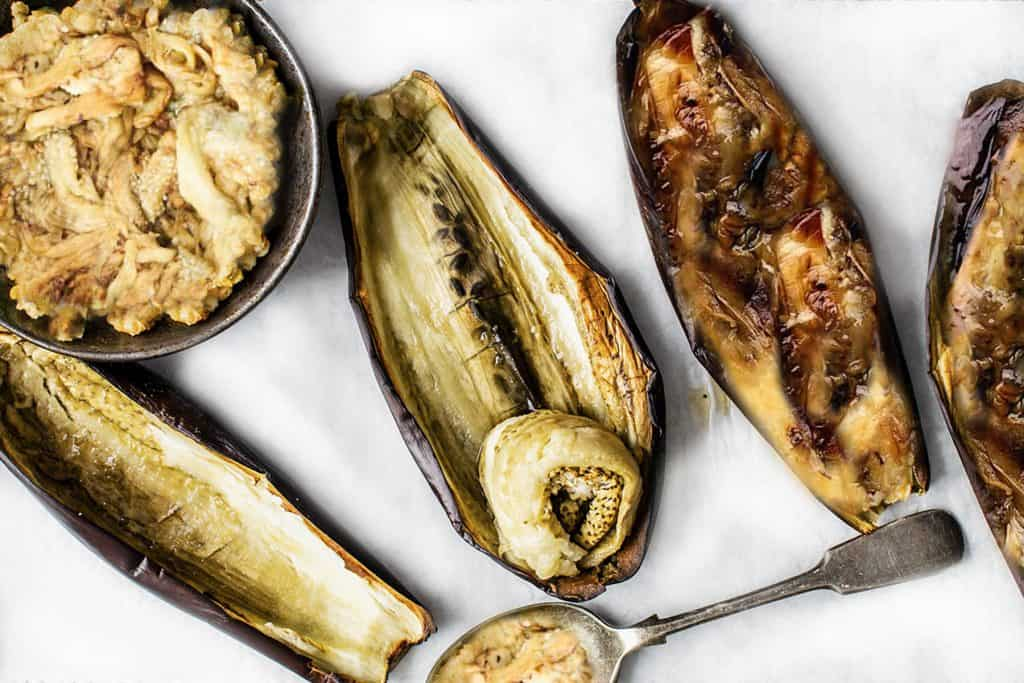 roasted eggplants with the flesh scopped out
