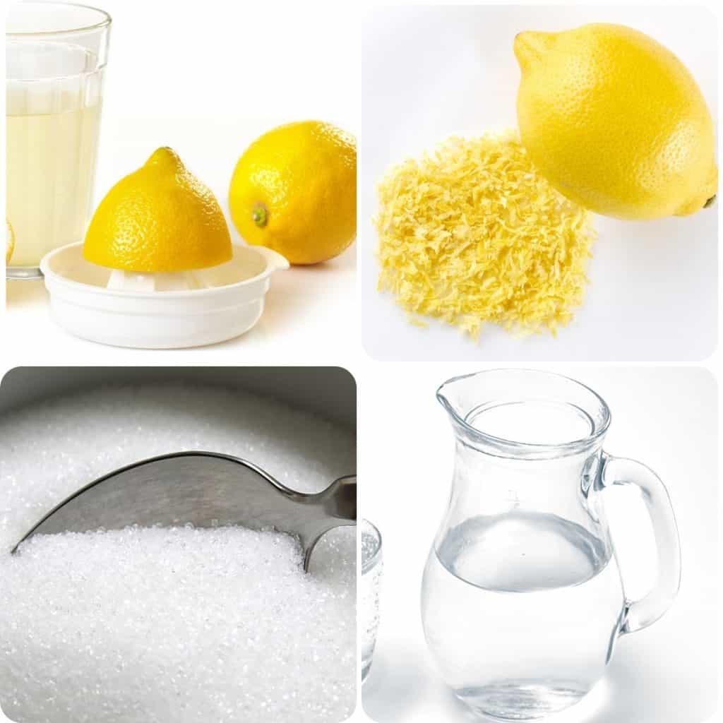 lemons, lemon zest, sugar and a jug of water