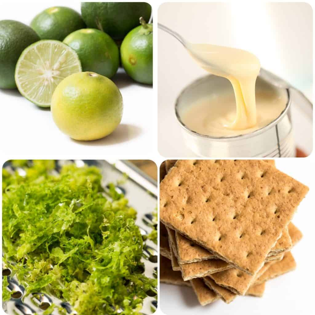 limes, condensed milk, lime zest and Graham Crackers