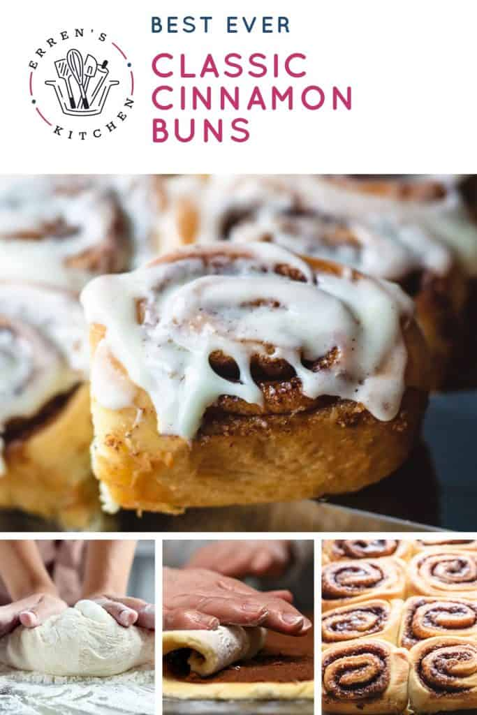 A pan of Cinnamon Rolls with a glaze on top