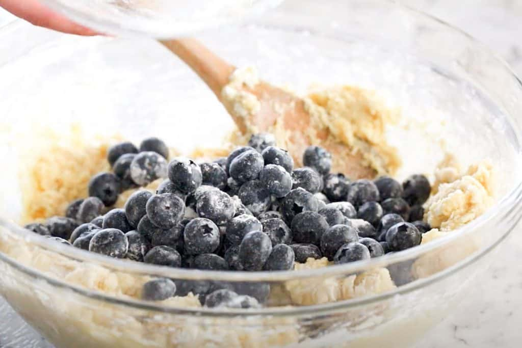 Blueberries added to the bowl with the scone mixture