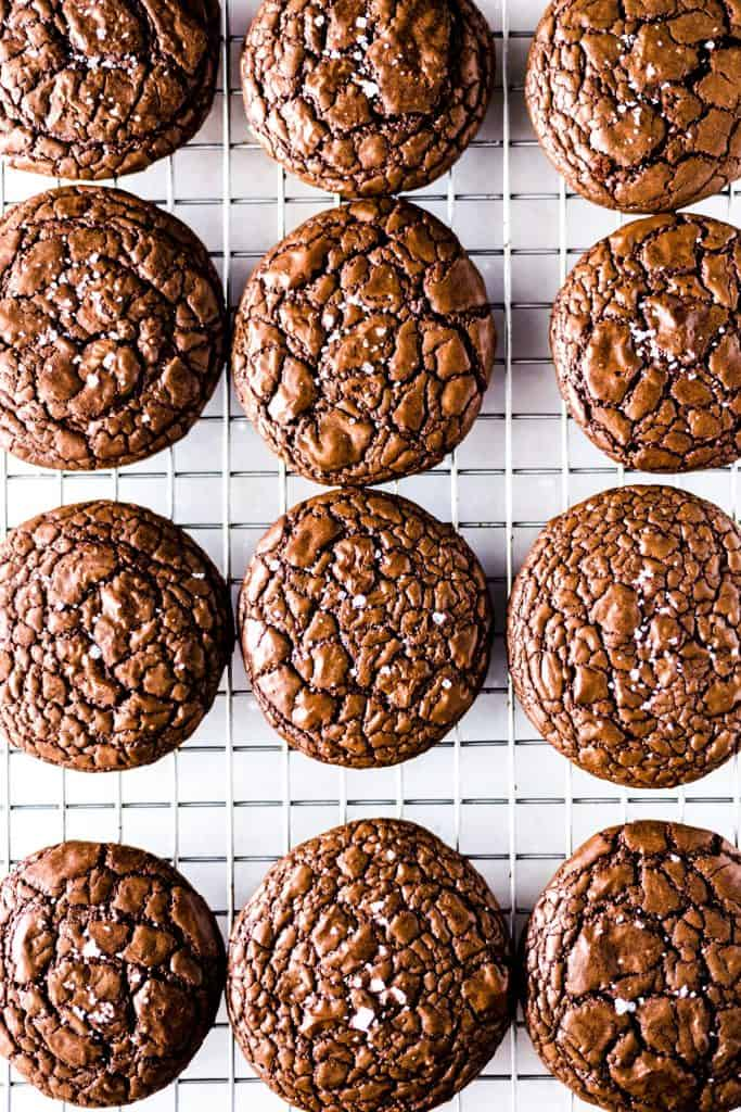 Chocolate cookies on a white background.