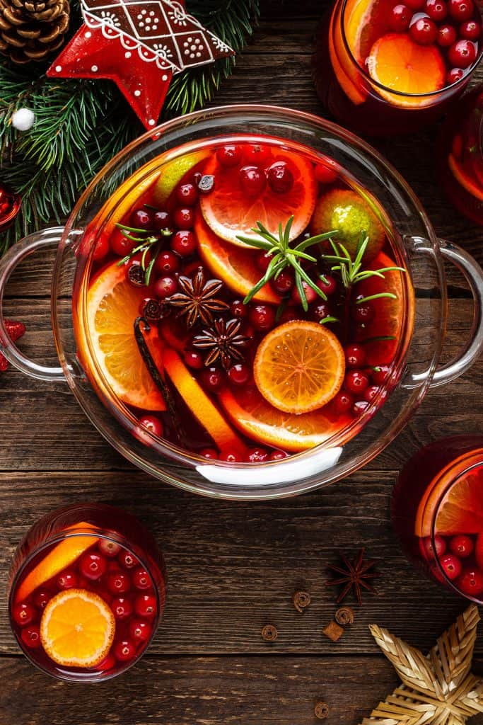 overhead shot of a bowl of Christmas Punch