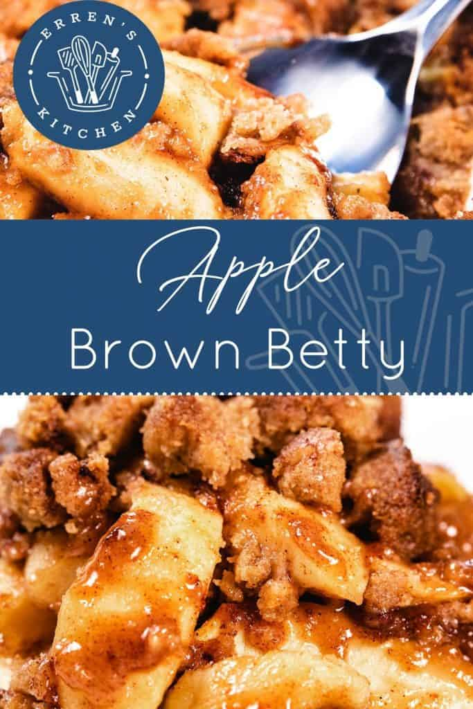 a dish piled high with baked Apples and crumb topping