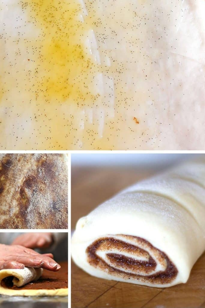 photos of the buttered dough, the cinnamon mixture spread on the dough and the rolled dough