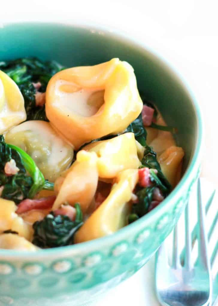 A bowl of Tortellini with cream sauce,