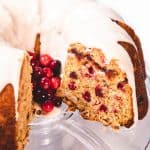 Cranberry Bundt Cake with a swirl of cranberry sauce