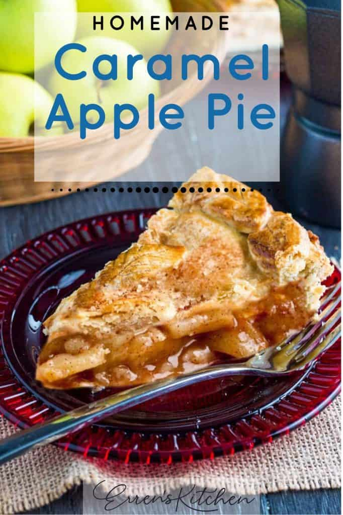 a slice of caramel apple pie ready to be served