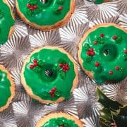 Christmas Wreath Cookies displayed on a silver tray.
