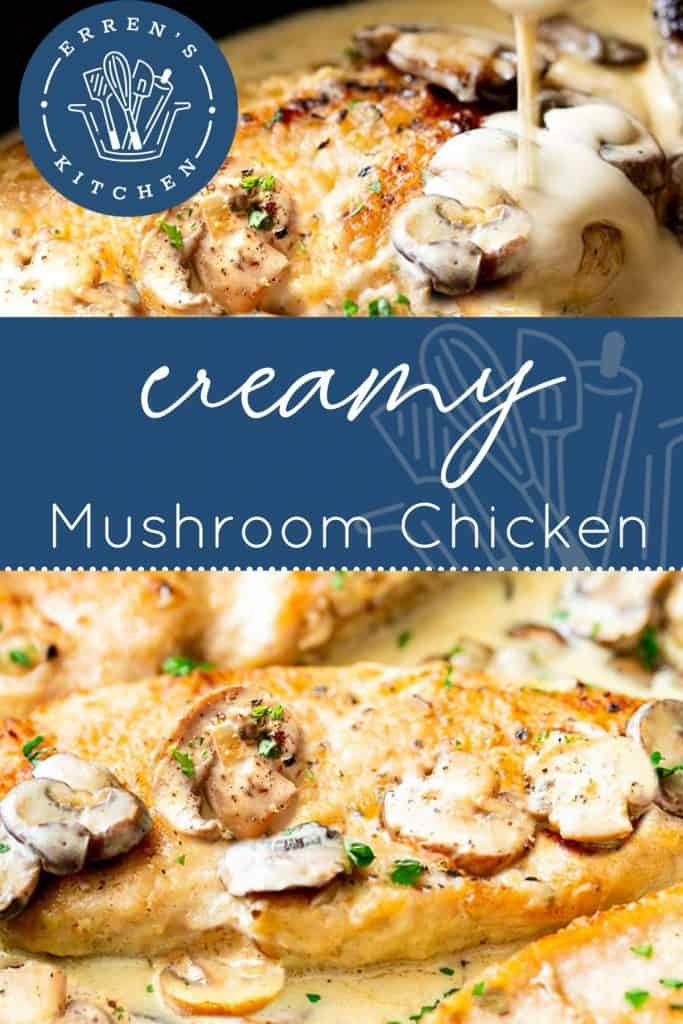 creamy mushroom chicken in a skillet ready to be served.