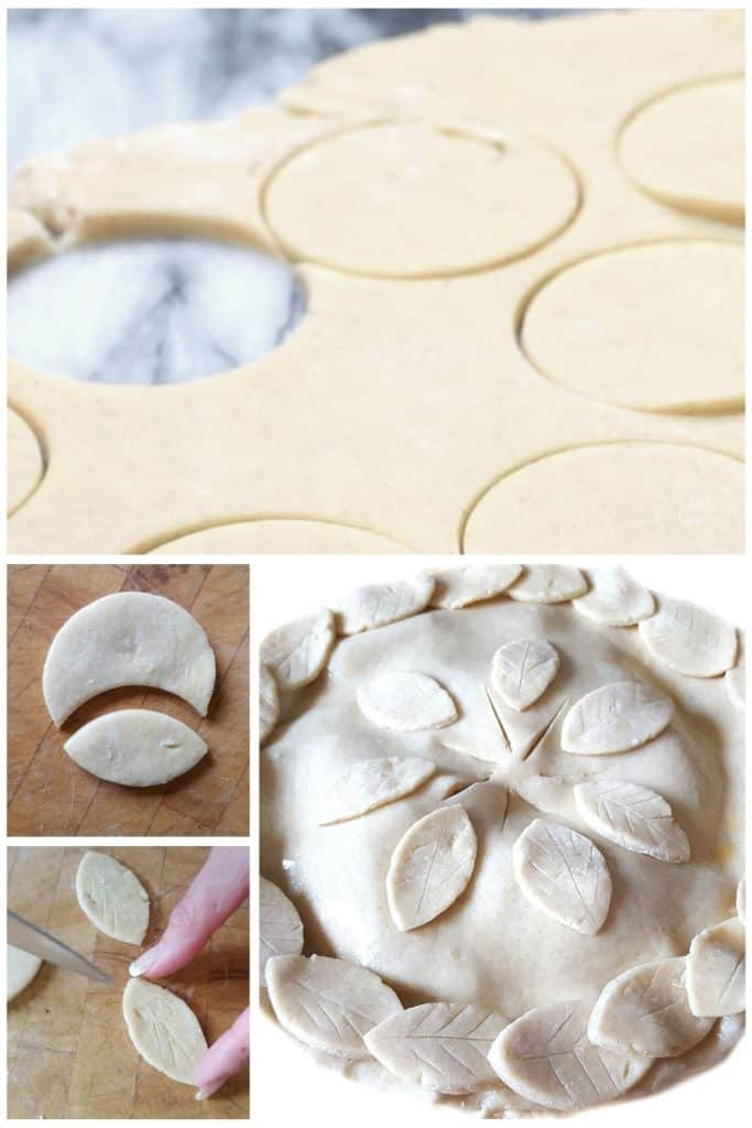 a series of photos showing how to decorate the pie