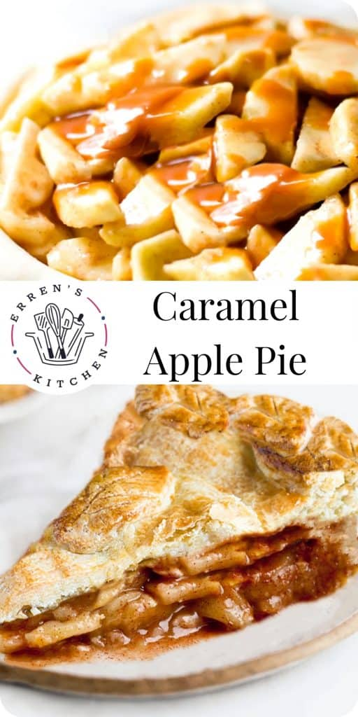 sliced apples in pie dough with caranel sauce and a slice of apple pie