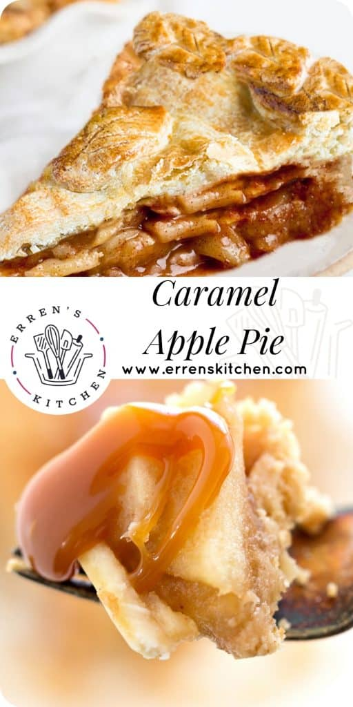 a forkful of apple pie with caramel sauce and a slice of apple pie