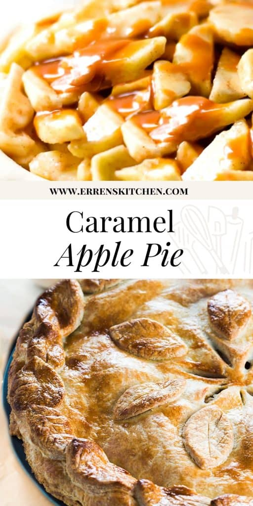 sliced apples in pie dough with caranel sauce and a baked apple pie