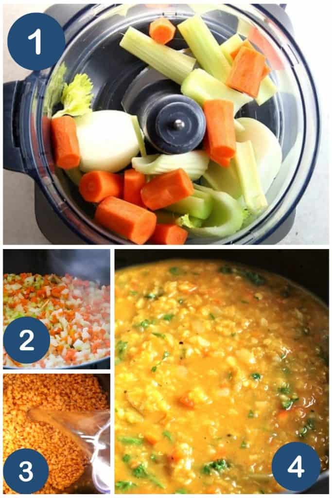 a variety of photos showing the process of making red lentil soup